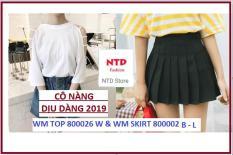 Combo Chân Váy Xếp Ly Và áo Thun Ngắn Tay Phong Cách Hàn Quốc NTD store CB2 WM SKIRT 800002 B – L PS WM TOP 8000026 W