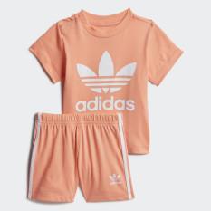 adidas ORIGINALS Bộ áo phông quần short Trefoil Em bé Màu cam FM5597