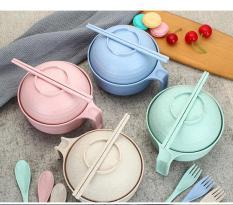 COMBO 3 Bộ ca mỳ lúa mạch có nắp, dũa, muỗng, nĩa – không chứa chất BPA gây nguy hại cho người sử dụng ( siêu dể thương)