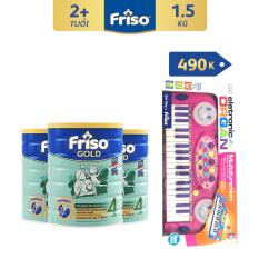 [Thu thập voucher giảm thêm 40K] Bộ 3 lon sữa bột Friso Gold 4 1.5kg + Tặng Đàn organ màu hồng trị giá 490K