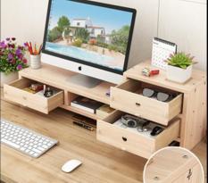 Bàn kê màn hình máy tính Monitor, Laptop đa năng bằng gỗ ghép có 3 hộc tủ nhỏ tiện dụng cao cấp loại dày 12mm