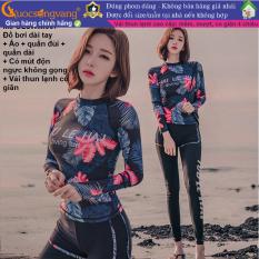 Bộ đồ bơi nữ dài tay in hoa 3 món bộ đồ bơi nữ kín đáo GLSWIM067 Cuocsongvang