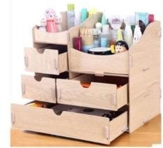 Tủ gỗ đựng đồ mỹ phẩm trang điểm cho chị em -màu gỗ