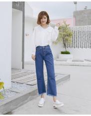 Quần jean nữ Q715 xanh nhạt trơn ống rộng chất bò cực – INICHI Store chuyên quần jean nữ
