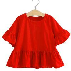 Áo thun đỏ cho bé gái 3-8 tuổi cổ tròn tayy lửng ống rộng phối bèo đáng yêu