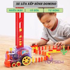 Xe lửa xếp hình domino có đèn và âm thanh 60 khối – Tàu hỏa xếp hình thông minh – Thế giới đồ chơi cho bé Toysem – Quà tặng sinh nhật cho bé trai bé gái cute