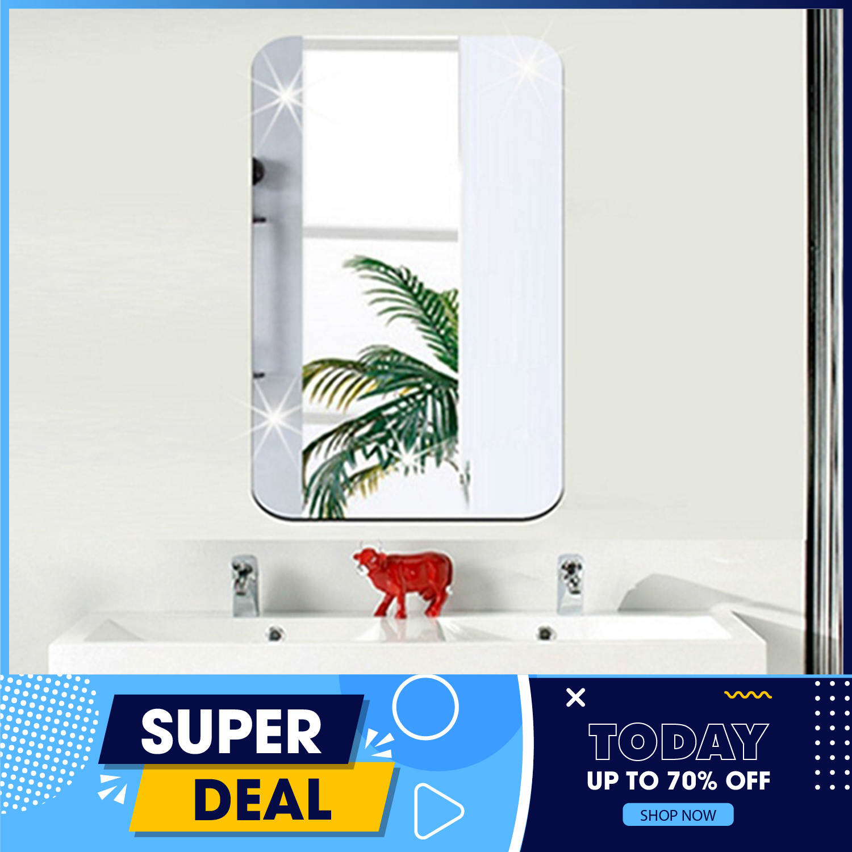 Gương dán tường- Gương dán tường 3D siêu rõ nét kích thước 42 x 27 hình chữ nhật, Gương Trang Điểm, Gương Soi Toàn Thân, Guơng Trang Trí Phong tắm
