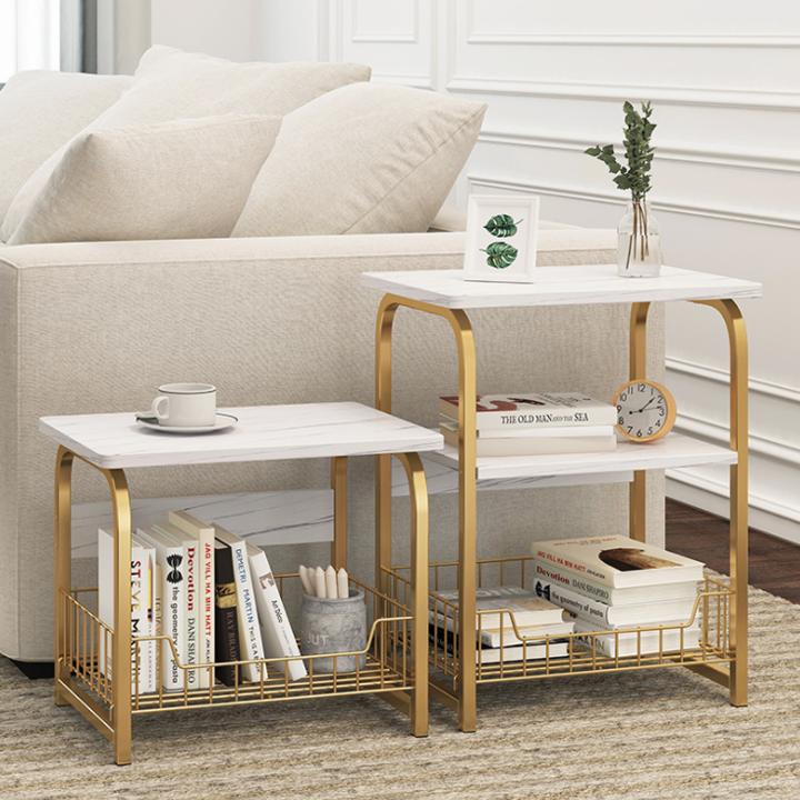 Bàn trà 2 tầng, táp trà phòng khách thông minh có giá để đồ, mặt gỗ, chân kim loại sơn tĩnh điện chắc chắn,gỗ công nghiệp cao cấp phủ melamin chống xước chống nước hai mặt, không mối mọt