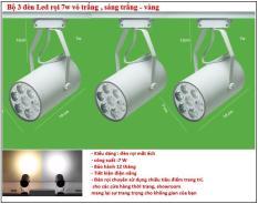 Combo 3 bộ đèn rọi led 7w vỏ trắng ,ánh trắng – vàng