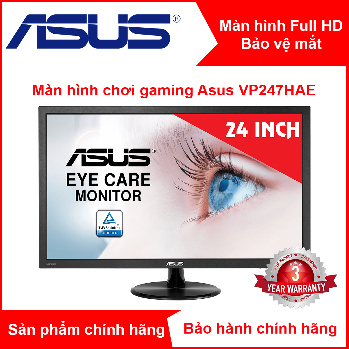 """Màn hình chơi game LCD ASUS VP247HAE – 23.6"""" FHD (1920×1080) , 5ms, Ánh sáng xanh thấp, Khử nhấp nháy"""