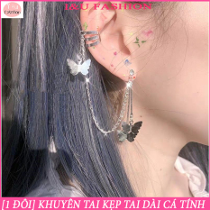[ 1 ĐÔI ] Khuyên tai kẹp tai dài hình bướm màu bạc dạng dây xích độc đáo cá tính trẻ trung và cool ngầu cho các bạn trẻ KT-44