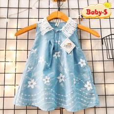 Đầm sóng xanh chất đũi nhẹ mềm mát cho bé gái 1-7 tuổi phối ren ở cổ và họa tiết thêu cực nữ tính đáng yêu Baby-S – SD069