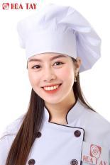 HOA TAY- Mũ Bếp Nam, Nữ Màu Trắng Loại Bánh Bao Chất Liệu Kaki Nhuyễn