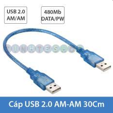 Dây cáp 2 đầu USB Male – Male – Cáp USB 2 đầu đực chiều dài 30Cm/50Cm/1.5 mét/3 mét/5 mét/10 mét (màu xanh)