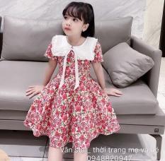 Váy hoa hồng cực xinh cho bé gái – Vải Quảng Châu siêu xịn