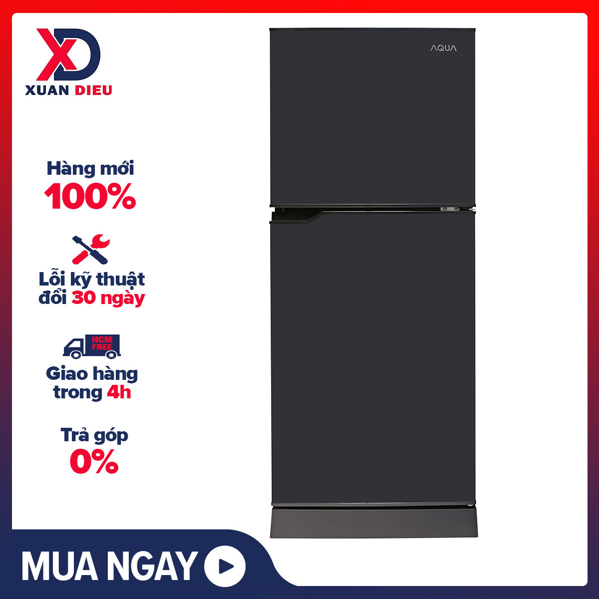 [Trả góp 0%]Tủ lạnh Aqua 130 lít AQR-T150FA(BS) – Công nghệ Nano Fresh Ag+ diệt khuẩn khử mùi tối ưu Khay kính chịu lực chịu được số lượng lớn thực phẩm Đèn LED ít toả nhiệt bền và tiết kiệm điện năng
