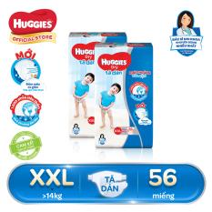 [GIẢM ĐẾN 40K ĐƠN 399K] Bộ 2 Tã/bỉm dán Huggies Dry Super Jumbo XXL56 – Gói 56 miếng (Cho bé trên 14kg)
