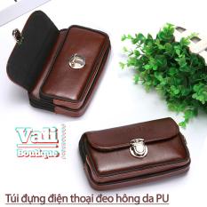 Túi đựng điện thoại giả da PU bóng đeo ngang hông kiểu ngang T5 – Túi đeo thắt lưng giả da PU bóng kiểu ngang – đen, nâu.
