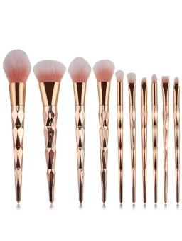 10 Pcs Rhombus Handle Makeup Brushes Set - intl