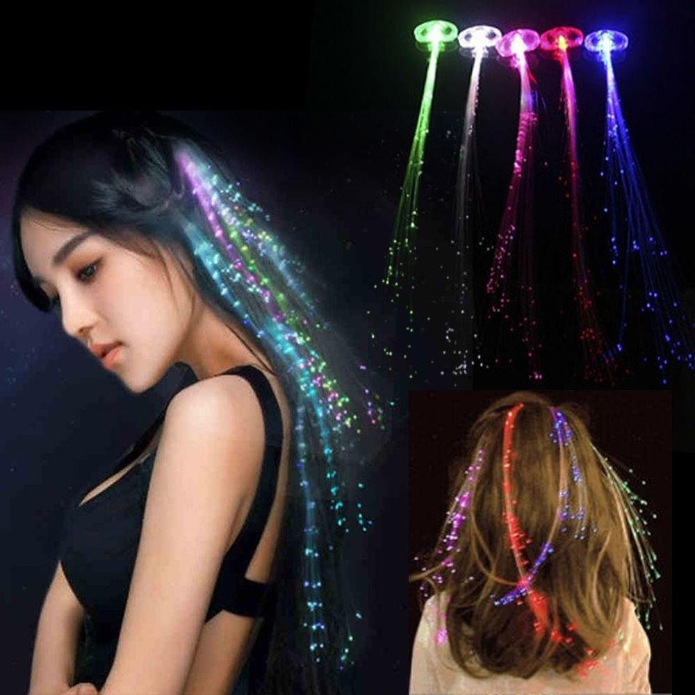 ... 1Pc Hot LED Hair Extensions Party Tail Fiber Optic Light BraidQuality - intl ...