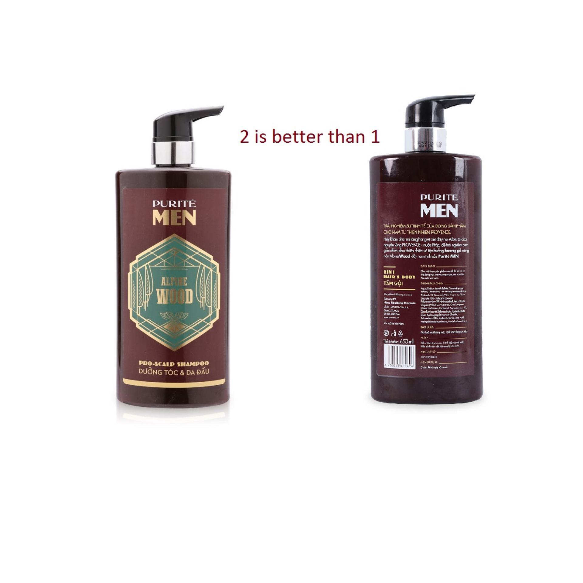Ở đâu bán 2 CHAI Sữa Tắm Gội Hương Gỗ Alpine Wood 2in1 Hair & Body – Purite by Provence mỗi chai 650ml