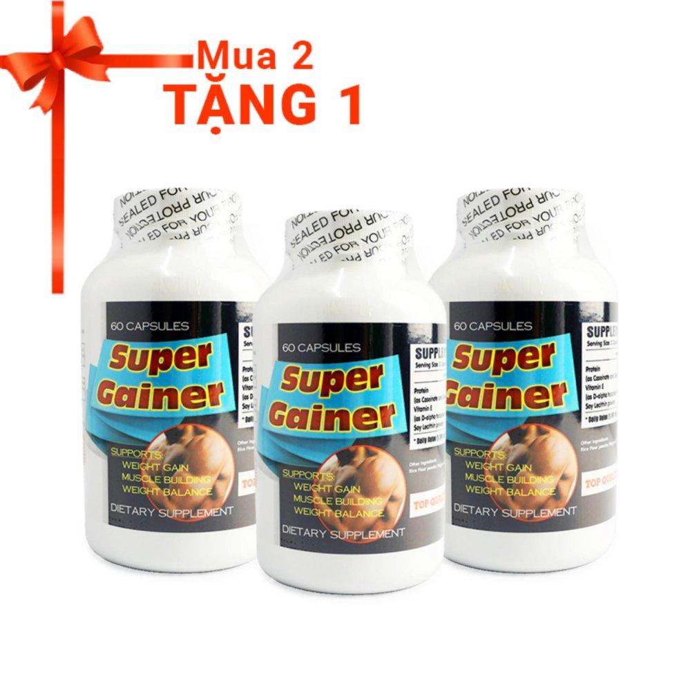 2 hộp Viên tăng cân tăng cơ Super Gainer 60 viên + Tặng 1 sản phẩm cùng loại