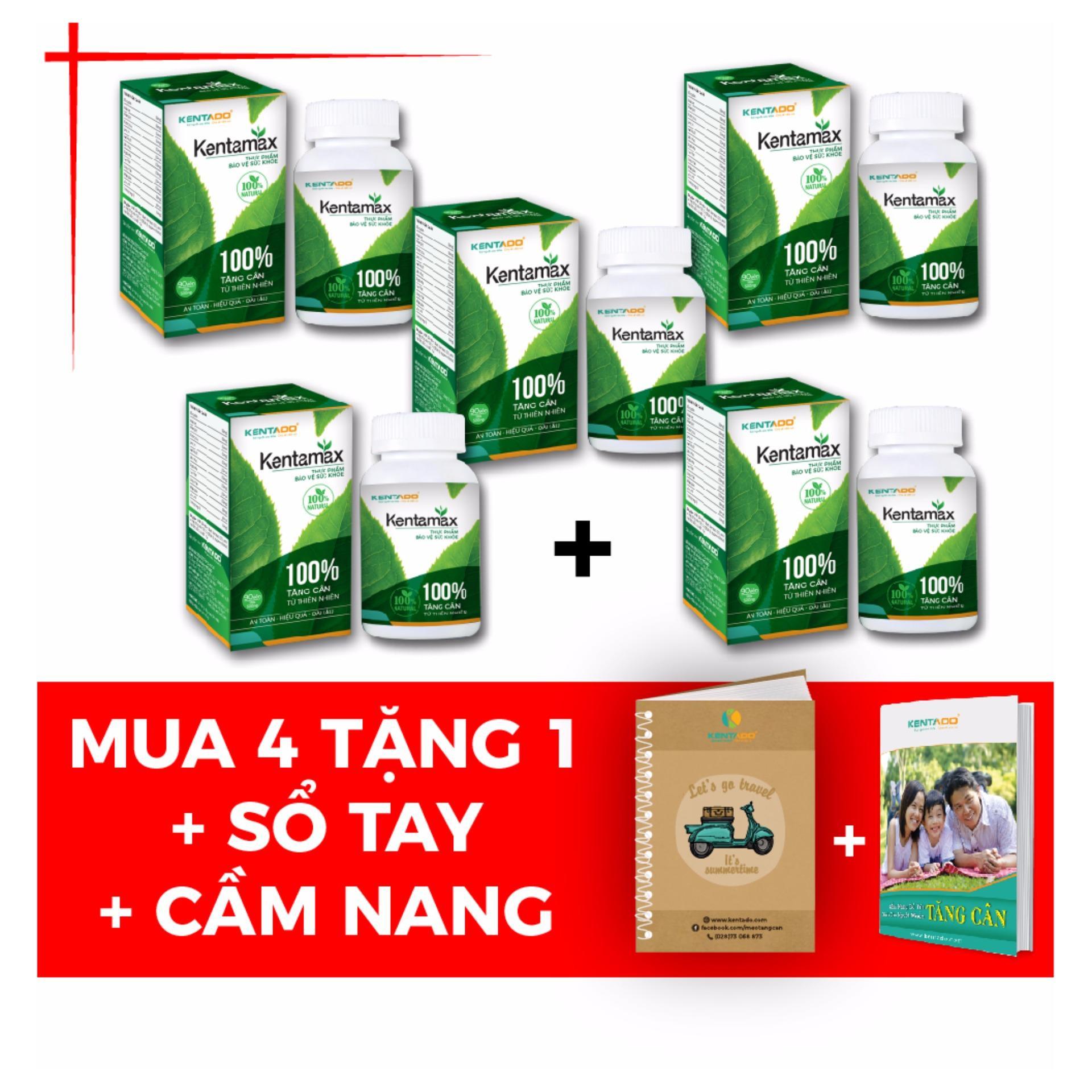 4 Hộp Tăng Cân Kentamax – Thảo dược từ thiên nhiên ( 90 viên / hộp ) +1 hộp cùng loại + Tặng Cẩm nang tăng cân