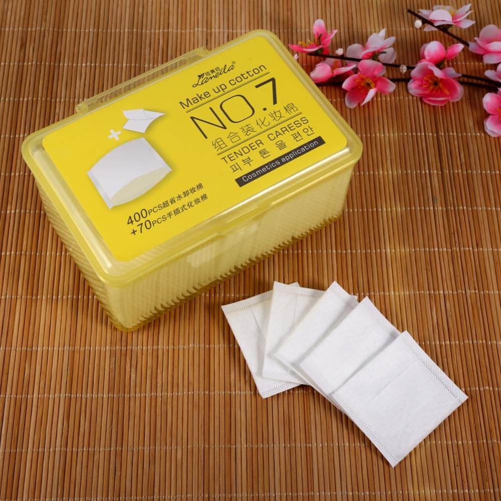470Pcs/Set Cosmetic Cotton Pad Lint Free Facial Eye Cleansing Makeup Remover Tool With Box