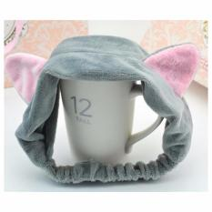 Băng đô rửa mặt tai mèo xám