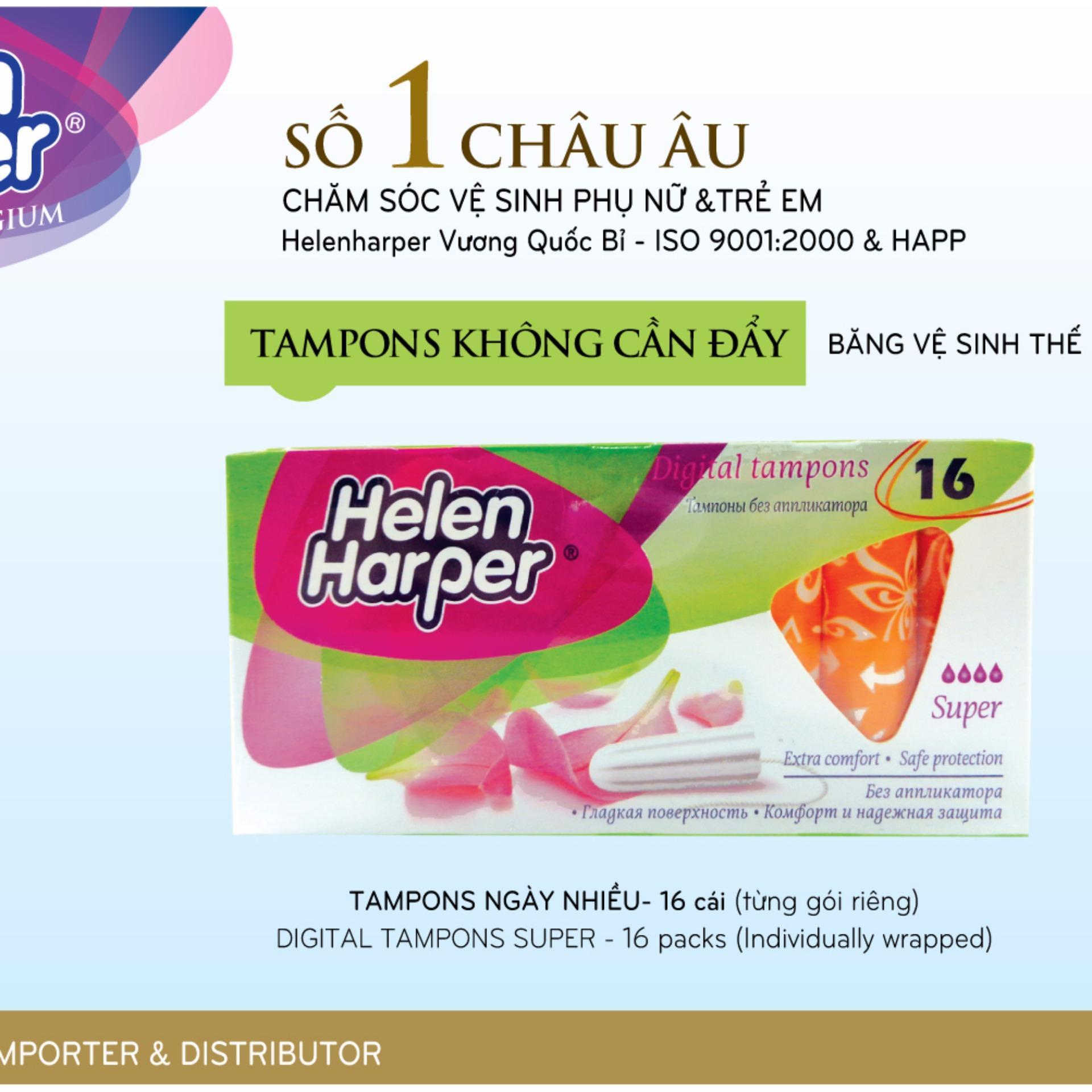 Chỗ bán Băng Vệ Sinh Helen Harper TAMPON SUPPER 16 Miếng Dạng Ống Không Cần Đẩy Dùng Bên Trong Nhỏ Gọn – Nhập Khẩu Từ Bỉ