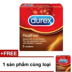 Bao cao su Durex Real Feel 3 bao + Tặng 1 hộp cùng loại