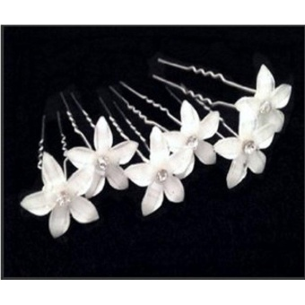 Beautiful Flower Bridal Wedding Hair Pin with Crystal Center (Packof 6) - intl