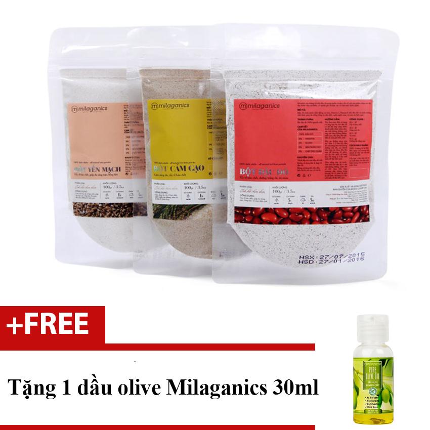 Tư vấn mua Bộ 1 bột cám gạo 100g + 1 bột yến mạch 100g và 1 bột đậu đỏ Milaganics 100g + Tặng 1 dầu olive 30ml