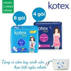 Giá Bộ 12 gói Kotex Style (8x Maxi, 4x ban đêm) Tặng ví cầm tay