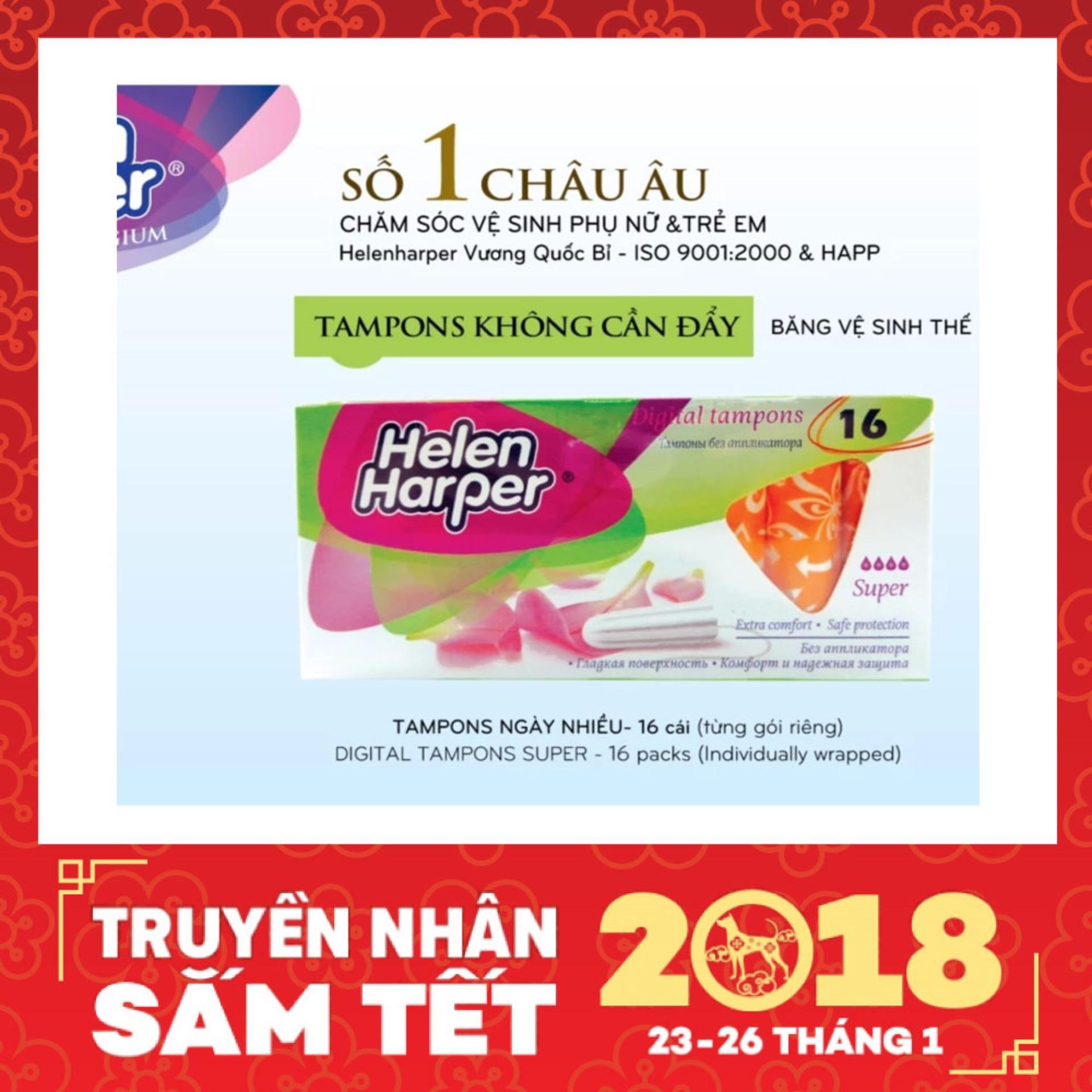 Cách mua Bộ 2 Băng Vệ Sinh Helen Harper TAMPON SUPPER 16 Miếng Dạng Ống Không Cần Đẩy Dùng Bên Trong Nhỏ Gọn – Nhập Khẩu Từ Bỉ