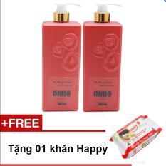 Bộ 2 chai sữa tắm OMIO 800ml (Đỏ) + Tặng 01 gói khăn ướt Happyteen