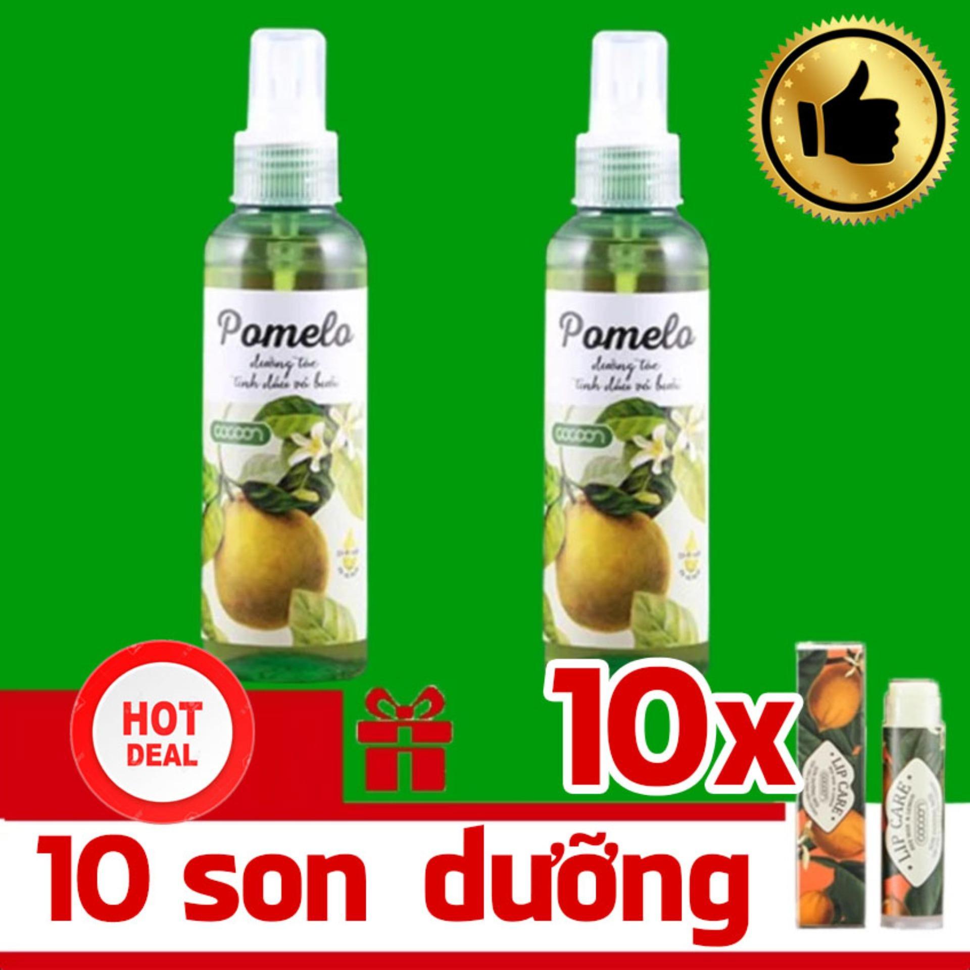 Báo Giá Bộ 2 chai xịt bưởi Pomelo và 10 thỏi son dưỡng môi Lip Care