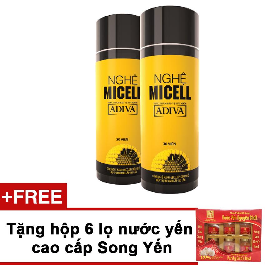 Bộ 2 hộp nghệ Micell ADIVA 30 viên + Tặng hộp 6 lọ nước yến Song Yến