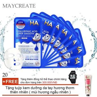 Bộ 20 Mặt nạ HA MayCreate – Hyaluronic Acid Super Smooth Mask + Tặng tuýp kem dưỡng da tay hương thơm thiên nhiên ( mùi hương ngẫu nhiên )