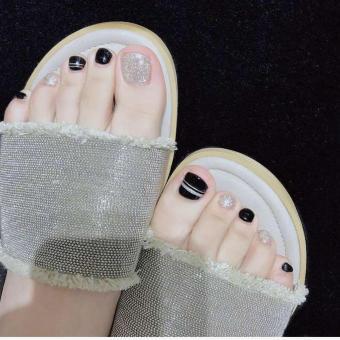 Bộ 24 móng chân giả hoa văn, đính đá