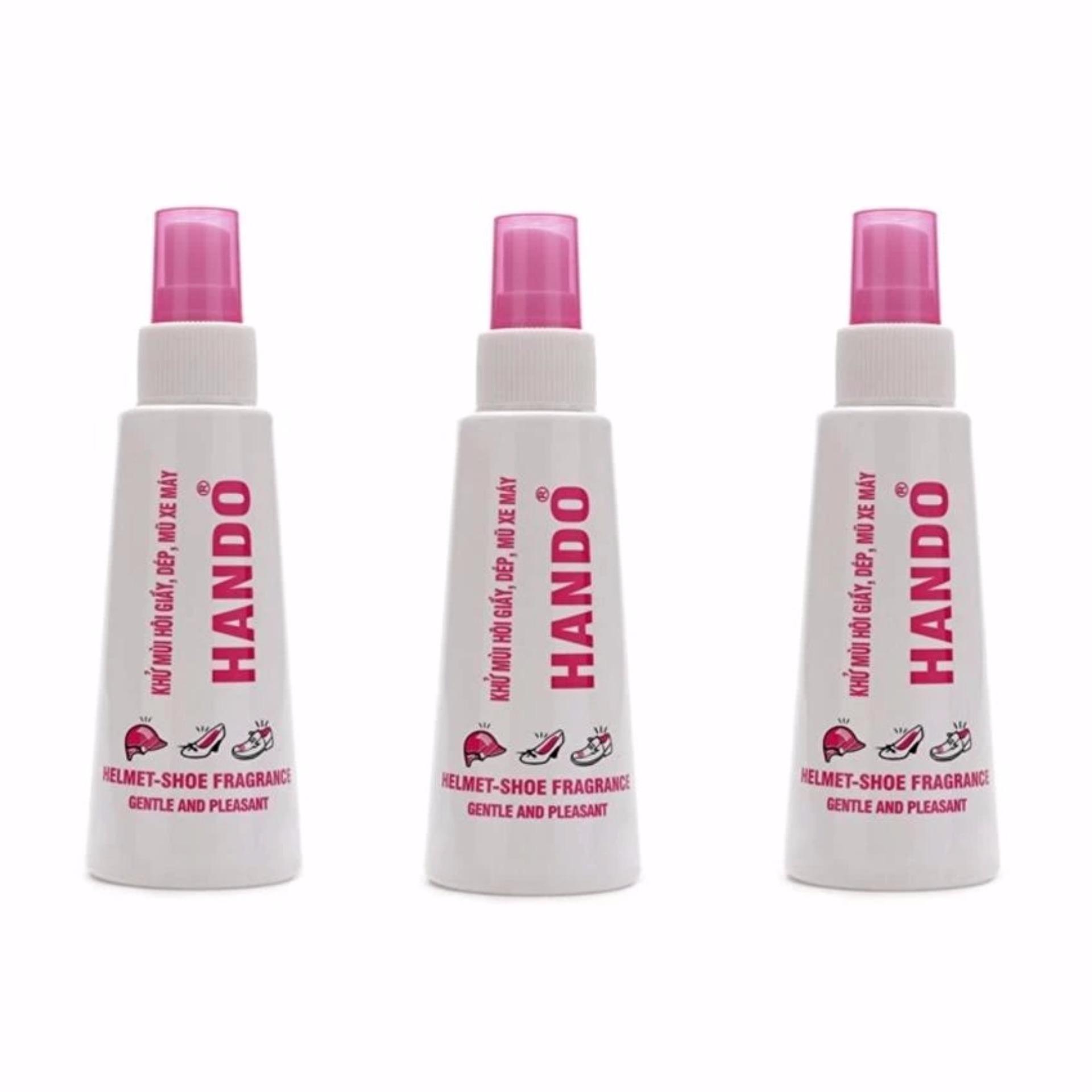 Bộ 3 chai xịt khử mùi hôi giày dép mũ bảo hiểm Hando 120Ml TI506
