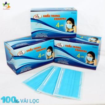 Bộ 3 hộp khẩu trang y tế 100% vải lọc 4 lớp Nam Anh (Xanh)