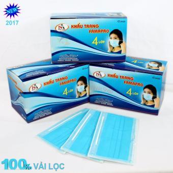 Hộp 50 cái khẩu trang y tế kháng khuẩn 4 lớp lọc (Xanh) (FAMAPRO) (Hộp 50