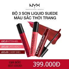 So Sánh Giá Bộ 3 son kem lì NYX Professional Makeup Liquid Suede Cream Lipstick Kitten Heels, Life's a beach, Cherry Skies