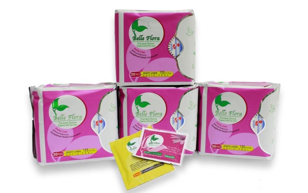 Trang bán Bộ 4 gói băng vệ sinh hàng ngày cotton BELLE FLORA gói 20 miếng