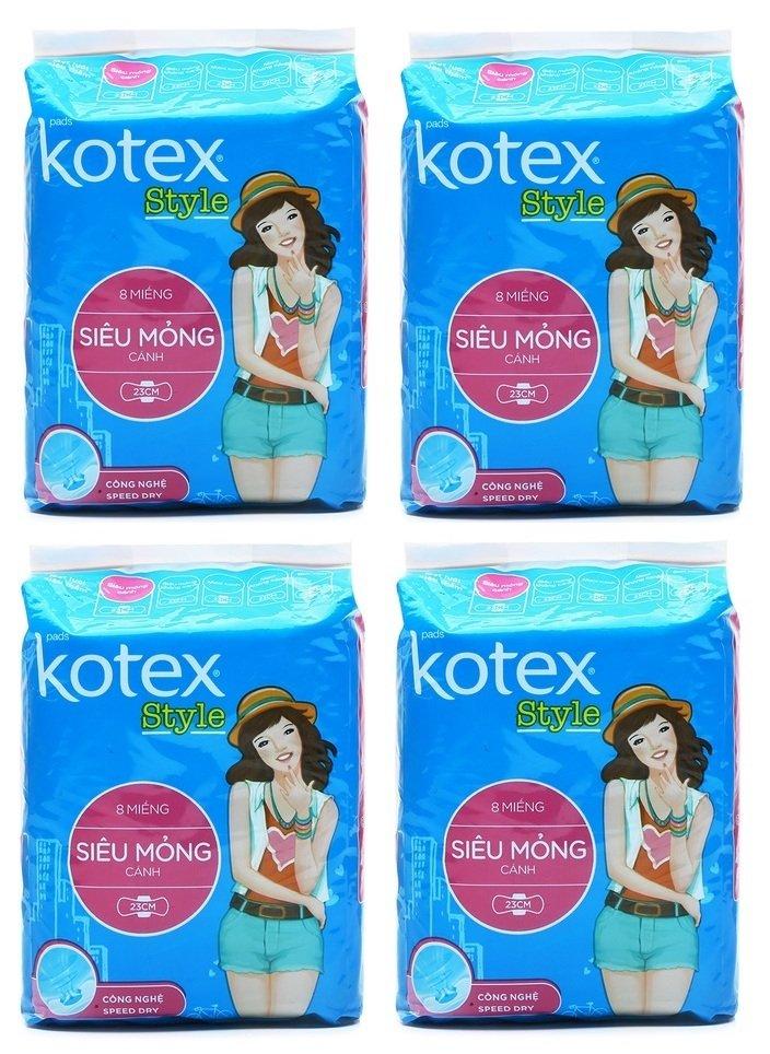 Bộ 4 gói băng vệ sinh Kotex Style siêu mỏng cánh 8 miếng