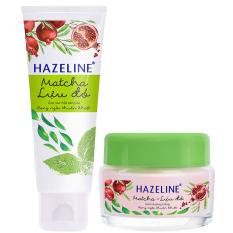 Bộ chăm sóc da mặt HAZELINE matcha & lựu đỏ gồm sữa rửa mặt 100g và kem dưỡng trắng 45g