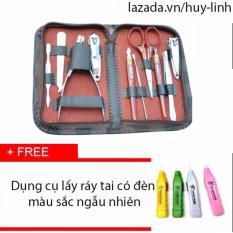 Bộ dụng cụ làm móng 10 món tiện dụng + Free dụng cụ lấy ráy tai có đèn màu ngẫu nhiên