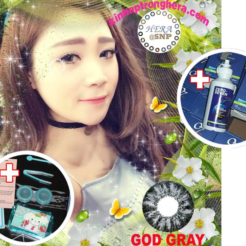 Tư vấn mua Bộ lens kính áp tròng 6 tháng GOD Gray 0.0 diop (xám đen) + nước ngâm cao cấp zero seven 120ml