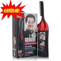 Bộ lược chải nhuộm tóc thông minh thế hệ mới 1 nút bấm và thuốc nhuộm(Đen)
